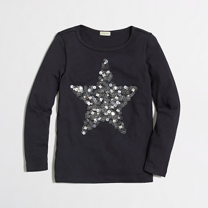 Factory girls' long-sleeve mirror star keepsake tee