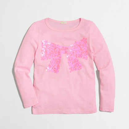 Factory girls' long-sleeve bow keepsake tee