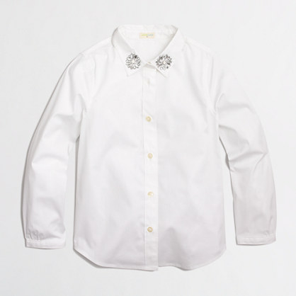Factory girls' jeweled collar button-down shirt