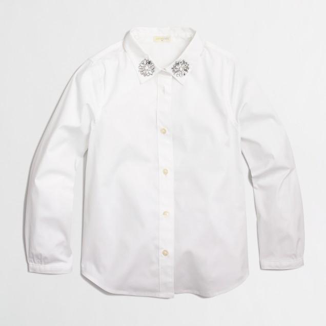Factory girls' jeweled collar button-down shirt