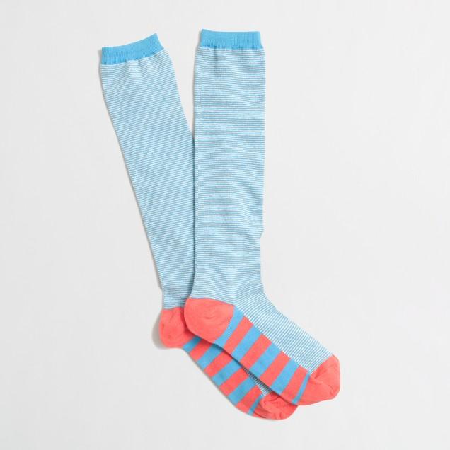 Factory stripe-sole knee-high socks