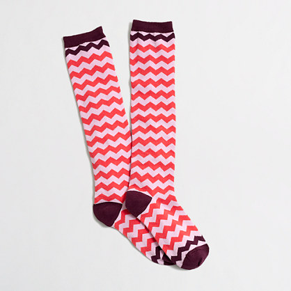 Factory chevron stripe knee-high socks
