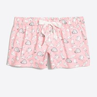 Printed flannel pajama short