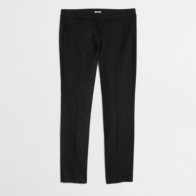 Factory slim stretch wool pant with tuxedo trim