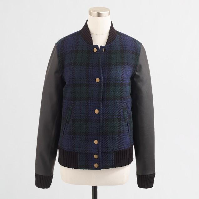 Factory Black Watch varsity bomber jacket