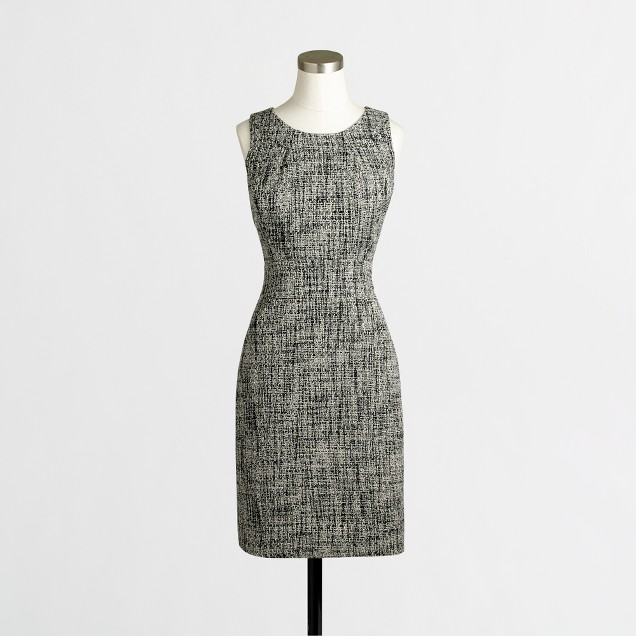 Factory tailored shift dress in tweed