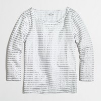 Factory three-quarter sleeve tee in metallic skinny stripe