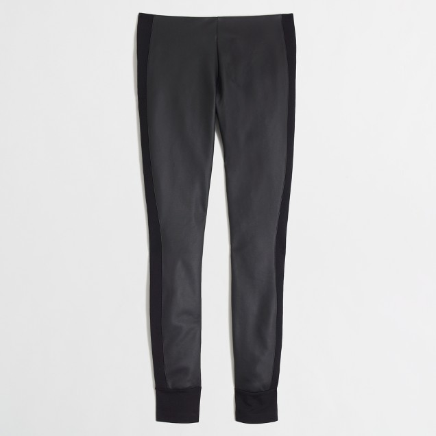 Factory faux-leather pant with ponte tuxedo stripe