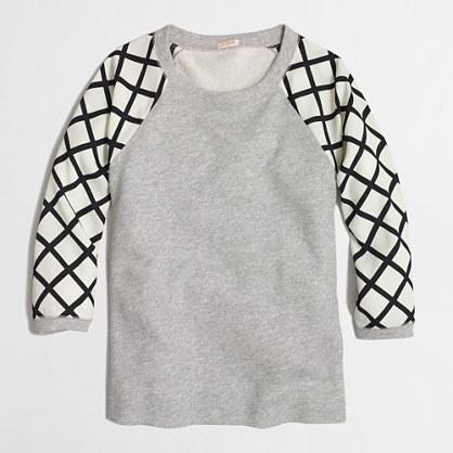 Factory contrast-sleeve sweatshirt in stripe