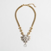 Factory brass and crystal pendant necklace