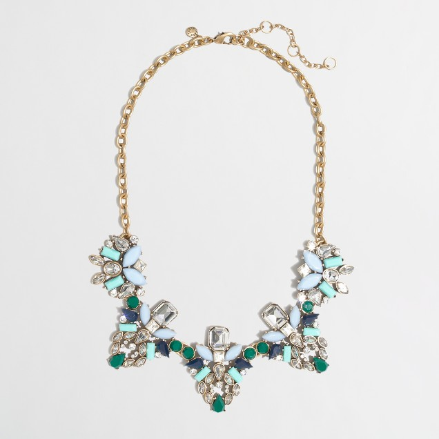 Factory crystal and gem clusters necklace