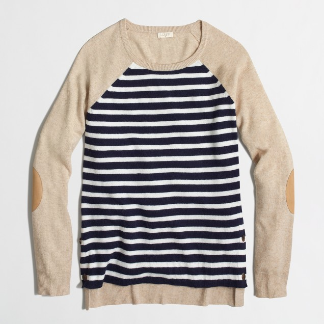 Factory side-button elbow-patch sweater in stripe