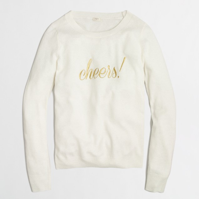 Factory embroidered cheers sweater