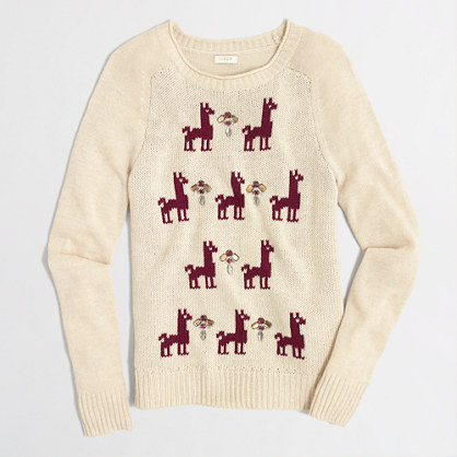 Factory embellished intarsia llama sweater