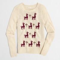 Factory embellished intarsia llama sweater