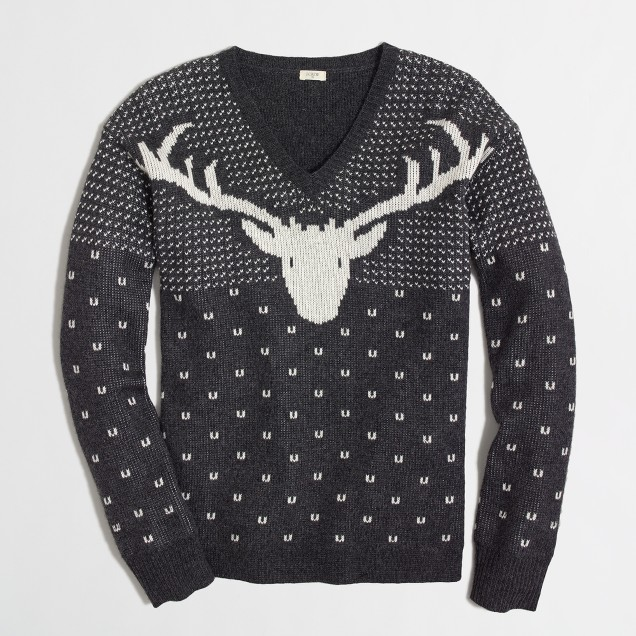Factory intarsia reindeer sweater