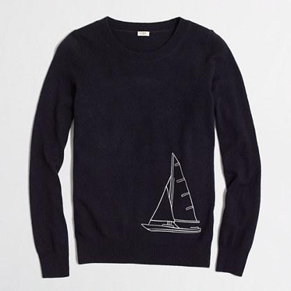 Intarsia sailboat sweater