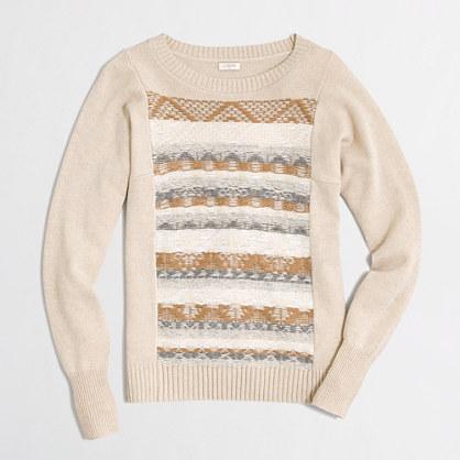Factory jacquard-stitch Fair Isle sweater