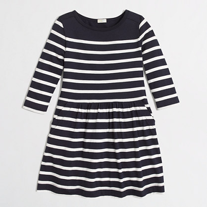 Girls' stripe pocket dress