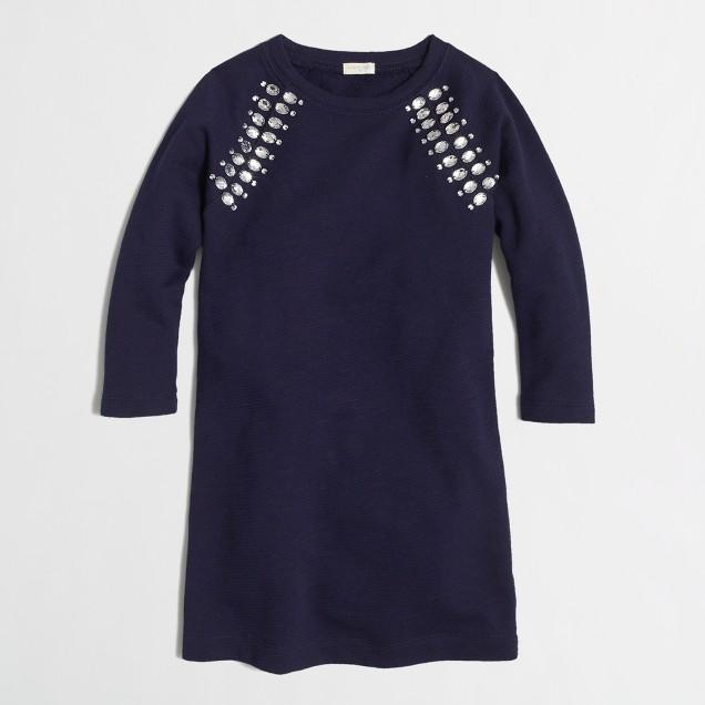 Factory girls' jeweled sweatshirt dress