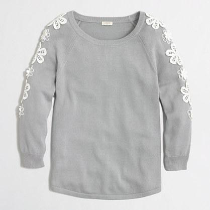 Cotton floral crochet sweater