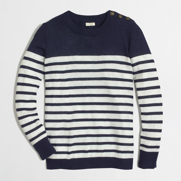 Shoulder-button Charley sweater in stripe : | Factory