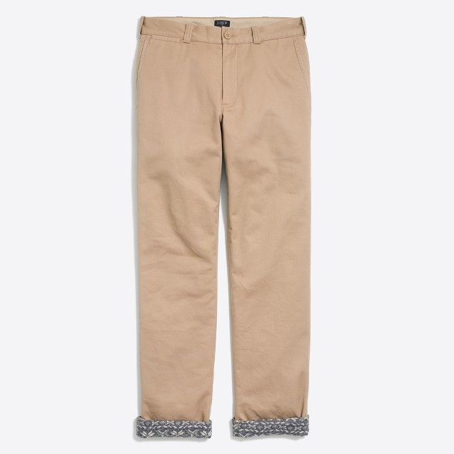 Sutton straight-fit flannel-lined chino