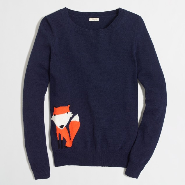 Factory intarsia fox sweater