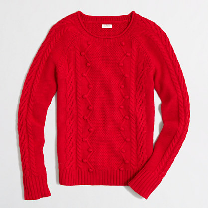 Factory pom-pom cable-knit sweater