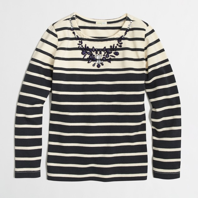 Factory girls' long-sleeve multicolor necklace stripe tee