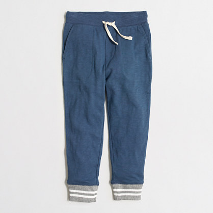 Boys' slim sweatpant with striped cuff