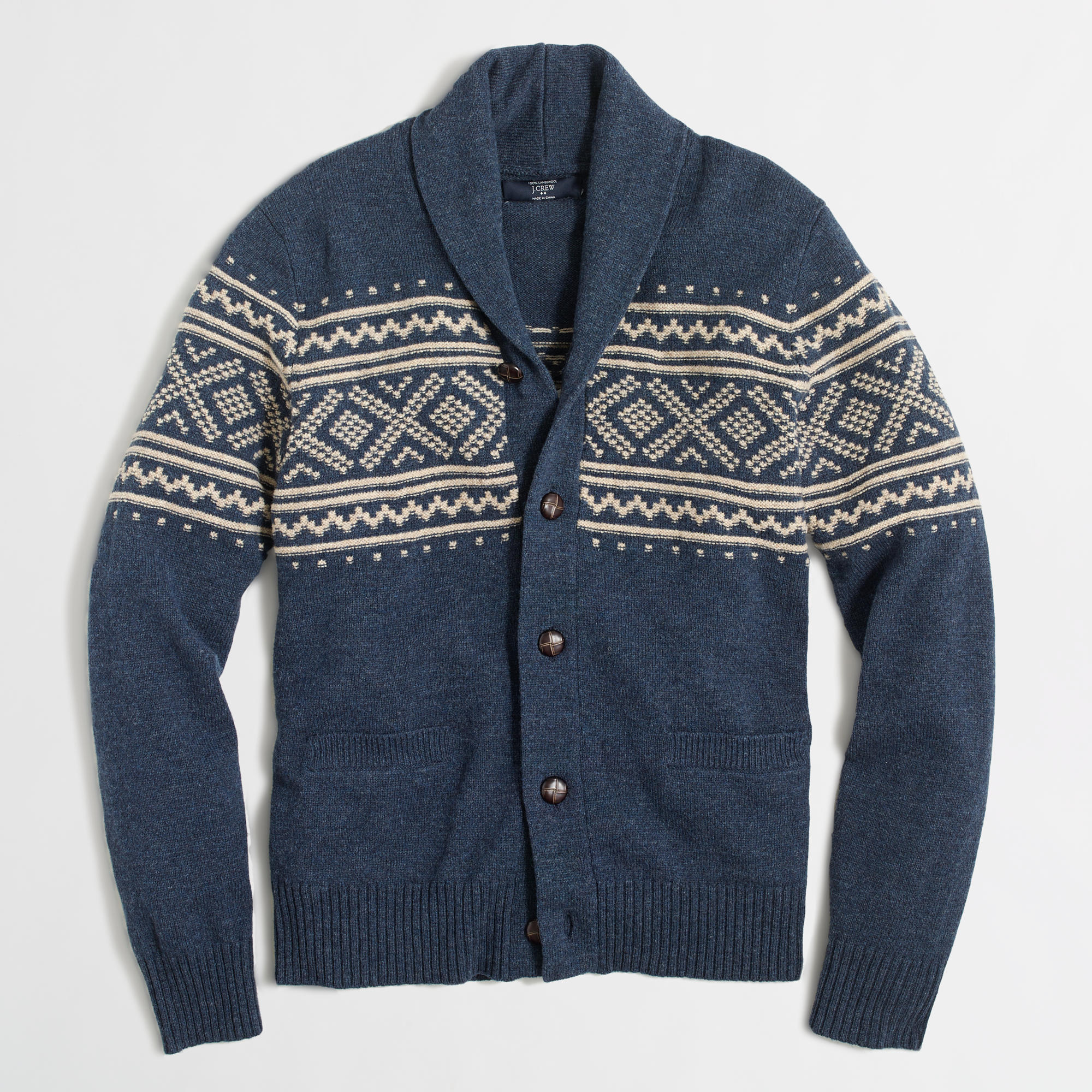 Fair Isle shawl-collar cardigan sweater : | Factory