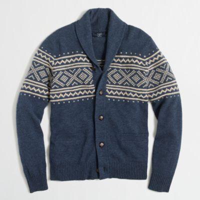 Fair Isle shawl-collar cardigan sweater : | Factory
