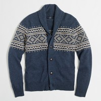 Fair Isle shawl-collar cardigan sweater