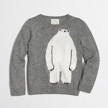 Girls' polar bear intarsia popover sweater