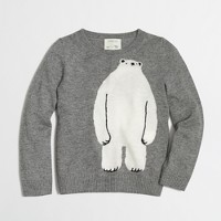 Girls' polar bear intarsia popover sweater