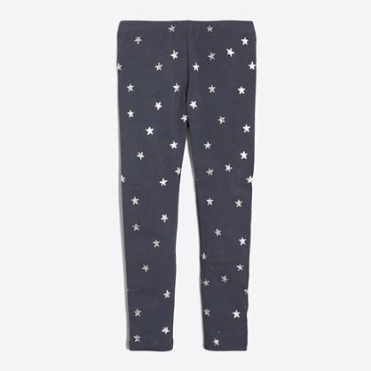 Girls' glitter star leggings