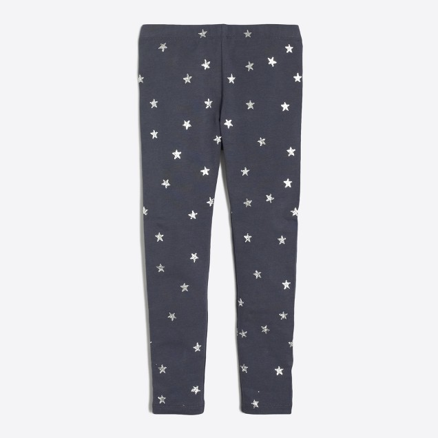 Girls' glitter star leggings
