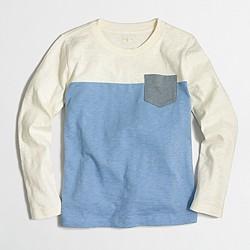 Boys' long-sleeve colorblock T-shirt