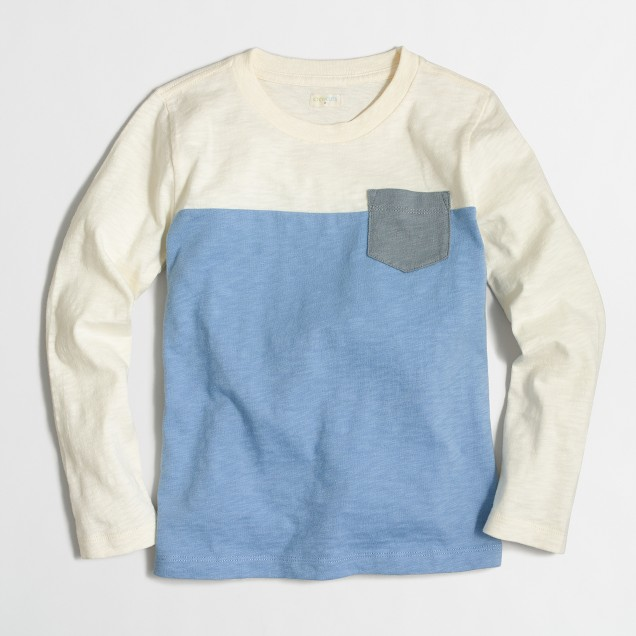 Boys' long-sleeve colorblock T-shirt
