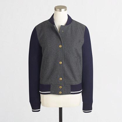 Factory wool varsity bomber jacket