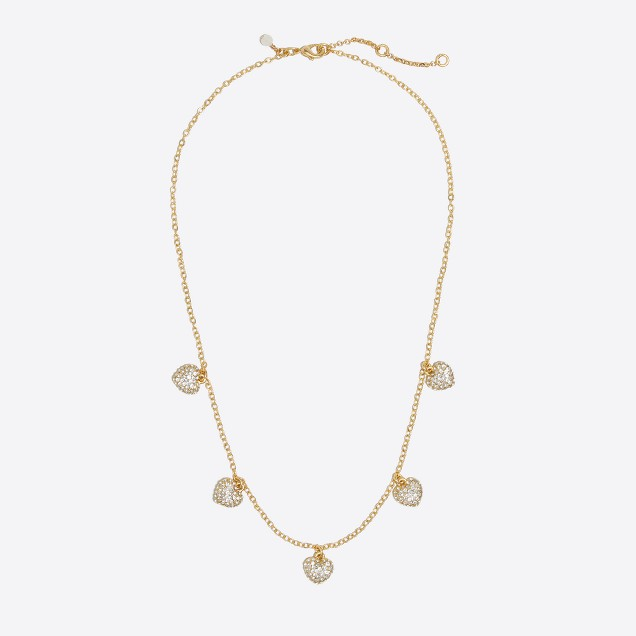Girls' pavéheart charms necklace