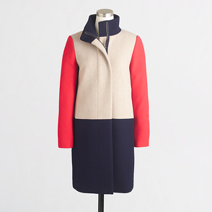 Factory high-collar coat in colorblock