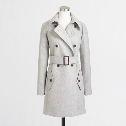 Factory wool-blend trench coat