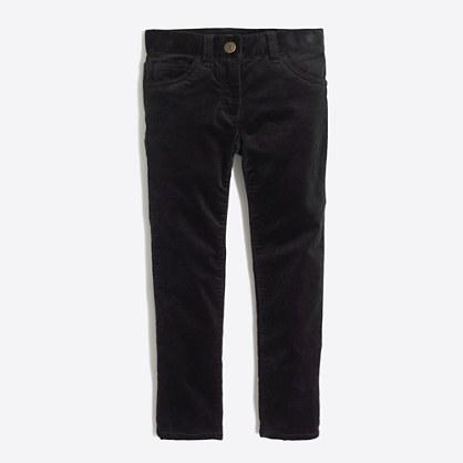 Girls' skinny velvet pant