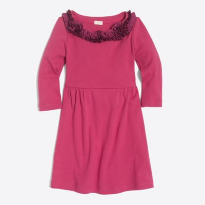Girls' ruffle-trim T-shirt dress