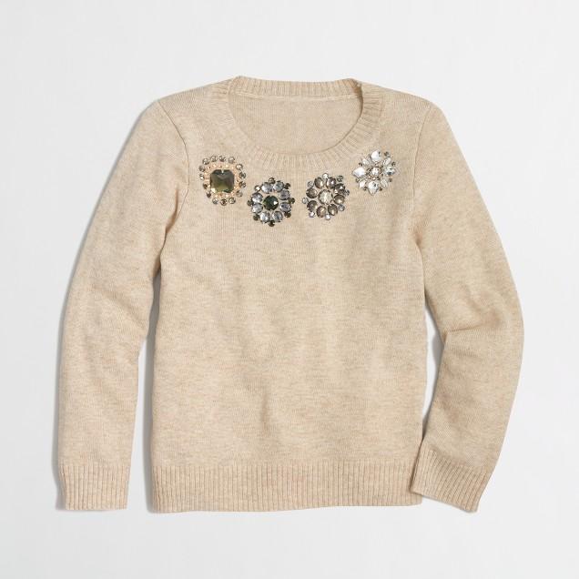 Girls' multicolor jewel popover sweater