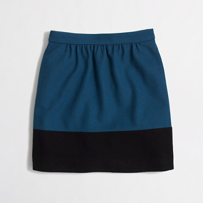 Factory colorblock skirt in double-serge wool