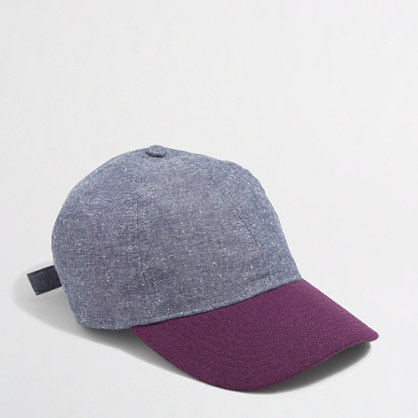 Factory chambray and wool baseball cap