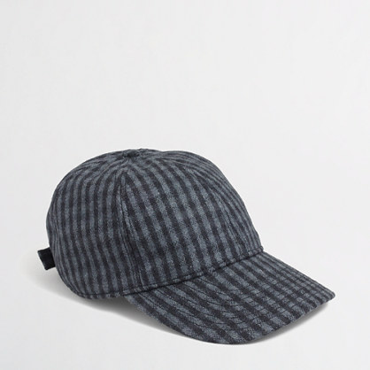 Factory wool check baseball cap